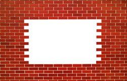 红砖墙壁 与空间的正方形文本的 免版税库存图片