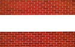 红砖墙壁 与空间的水平线文本的 免版税图库摄影