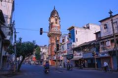 红砖墙的钟楼,印度 图库摄影