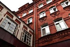 红砖大厦,红色10月地方在莫斯科,老工厂 库存图片