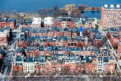 红砖房子块的看法在波士顿 免版税图库摄影