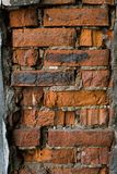 红砖石工的被破坏的部分 免版税库存照片