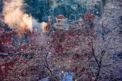 红砖雪房子墙壁冬天老镇降雪的早晨树冬天冷淡的烟 图库摄影