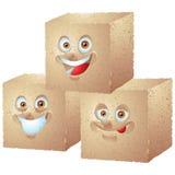 红糖立方体堆被隔绝的漫画人物 库存图片