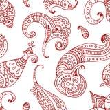 红线印地安人佩兹利乱画手拉的无缝的样式 免版税库存图片