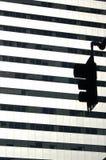 红绿灯剪影在波特兰,俄勒冈 免版税库存图片