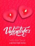 红色上升了 华伦泰` s销售,电视节目预告的等海报 浪漫心脏蜡烛和剧本字法 免版税库存照片