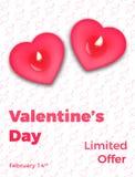 红色上升了 华伦泰` s销售,电视节目预告的等海报 浪漫心脏蜡烛和时髦印刷术 图库摄影