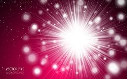 红色与光的爱浪漫红色摘要 淡光闪闪发光框架边界五彩纸屑问候情人节卡片 免版税图库摄影