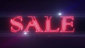 红色与发光的轻的光学火光动画的lazer霓虹销售文本在黑背景-新的质量减速火箭的葡萄酒迪斯科 库存例证