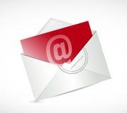 红色与我们联系邮件例证设计 免版税库存图片