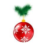 红色与杉木的圣诞节玻璃球 免版税库存图片