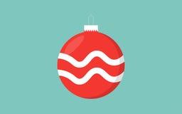 红色与波浪装饰的圣诞节球减速火箭的颜色蓝色背景 免版税库存照片