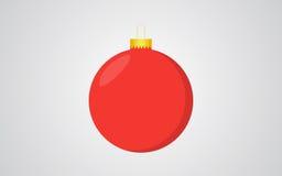 红色与金黄细节的圣诞节球减速火箭的颜色灰色背景 免版税库存照片