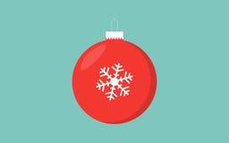 红色与雪花的圣诞节球减速火箭的颜色蓝色背景 库存照片