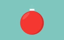 红色与细节的圣诞节球减速火箭的颜色蓝色背景 免版税库存照片
