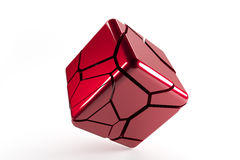 红色与破裂的线的被自毁的3d立方体 库存照片