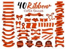 40红色丝带与平的设计的传染媒介例证 包括图表元素作为减速火箭的徽章,保证标签,销售标记, discou