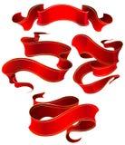 红色丝带丝绸 库存图片