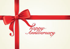 红色丝带和贺卡,弓,新年,周年 免版税库存照片