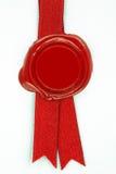 红色丝带密封蜡 库存照片