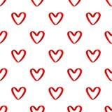 红色丝带心脏无缝的样式 库存图片
