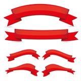 红色丝带集 免版税库存图片
