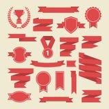 红色丝带,奖牌,奖,杯子集合 向量 横幅网 库存图片