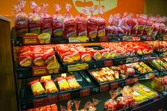 红色丝带Bakeshop,被烘烤的物品 免版税库存照片