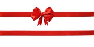 红色丝绸丝带和弓 库存图片