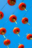 红色中国灯笼在愉快的中国年 库存图片