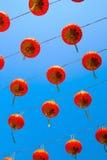 红色中国灯笼在愉快的中国年 免版税库存图片
