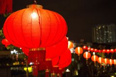 红色中国灯笼在新年在唐人街 免版税库存照片