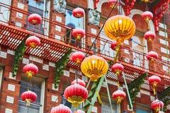 红色中国灯笼在旧金山唐人街  库存图片