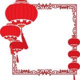 红色中国灯笼装饰 库存例证