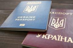 红色乌克兰护照的两个的版本和蓝色文件 免版税图库摄影