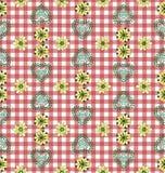 红色乡村模式的桌布 免版税库存图片