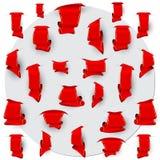 红色书签的汇集 库存例证