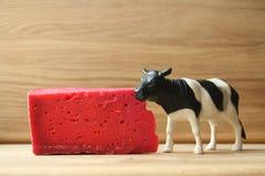 红色乳酪和母牛在木背景 免版税库存照片