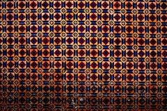 红色五颜六色的摩洛哥,葡萄牙瓦片,赤土陶器Azulejo, orn 免版税图库摄影