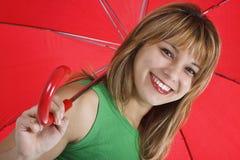 红色伞妇女年轻人 库存图片