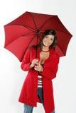 红色伞妇女 免版税库存图片