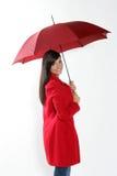 红色伞妇女 图库摄影