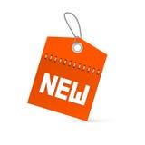 红色传染媒介新的标记,与串的标签 免版税库存照片