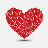 红色伤心传染媒介、心脏象、商标、平的象应用程序的和网站,爱标志,华伦泰标志,多角形图表 向量例证