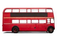 红色伦敦公共汽车,在白色的双层汽车 免版税库存图片