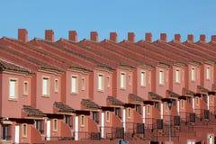 红色住宅房子行  免版税图库摄影
