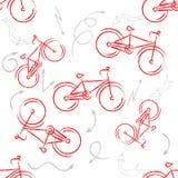红色体育自行车装饰品 被仿造的设计元素,您的设计的自行车商标 自行车设计 无缝的模式 免版税库存照片