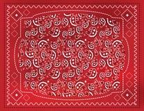 红色佩兹利手帕 库存图片