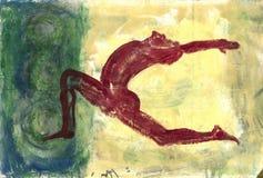 红色信奉瑜伽者 免版税库存图片